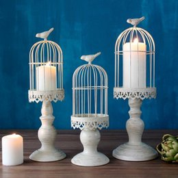 Wholesale Candle Table Lantern - Retro Design candle holder factory sales europe birdcage lantern Continental Iron Candle Holders wedding home candlestick Decorations