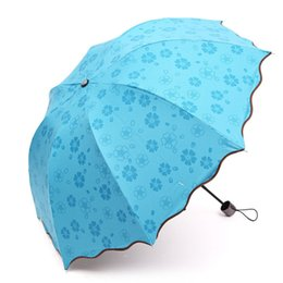 Wholesale Transparent Umbrella Rainy - Fashion Lady Princess Magic Flowers Dome Parasol Sun Rain Folding Umbrella Prain Women Transparent Umbrella Beauty Parasol