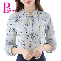 Wholesale Korean Ladies Chiffon Ruffle Blouse - Floral Print Shirt Plus Size Autumn 2016 Women Long Sleeve Chiffon Blouse Bow Ruffle Korean Clothing Casual Ladies Office Tops