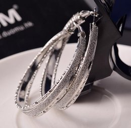 Wholesale earring for evening - Wholesale- High Quality 1 Pairs Cool Style Fashion Big Round Hoop Elegant Simple Pierced Silver Gold Earring For Evening Party WOMEN gift