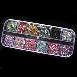 Wholesale Gemstone Nail Art - Wholesale- 1200pcs 2mm Round Rhinestones 12 Colors Hard Case Nail Art Tips Decoration Created Gemstones Acrylic UV Gel 06CN