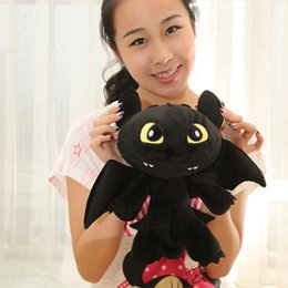 Wholesale Toothless Night Fury Stuffed Animal - Wholesale- 30CM 2014 How To Train Your Dragon 2 Night Fury Plush Toy Toothless Dragon Stuffed Plush Toy Animal Dolls Gifts For kids
