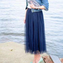 Wholesale Khaki Calf Length Skirt - New Arrival Dark Navy Women Skirts A Line Ankle Length Tulle Skirt high quality custom formal woman skirt simple style