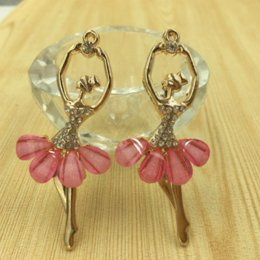 Wholesale Ballet Girls Charms - Newest 30PCS Lot Resin Decorated Ballet Dancing Girl Alloy Necklace Pendant Charms Gold Tone Metal DIY Jewelry Bracelet Charm