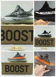 Wholesale Dmx 27 - Baby Kids Athletic Shoes Boys Girls Running Shoes Children's Kanye West Season 3 SPLY 350 Boost V2 Black Red Grey Orange Size 27-35