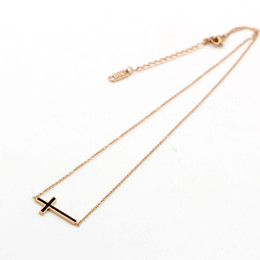 Wholesale Ladies Stainless Steel Cross Pendant - 2017 Vintage cross stainless steel Long Chain Necklaces for Women Pendants Necklace Fine Ladies Jewelry Necklace & Pendant