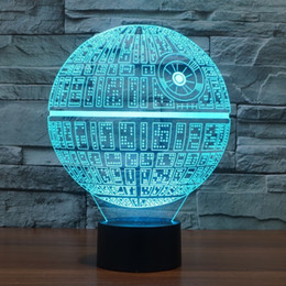Wholesale Novelty Wedding Gifts - 3D Novelty Light Star Wars Death Star 7 Colors Changing LED Lamp NEW Luminaria 3D Lights Action Figure Kids Gift Toys