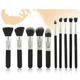 Wholesale Hair Makeup Wholesalers - 10PCS Premium Synthetic Hair Makeup Brush Set Cosmetics Foundation Blending Blush Face Powder Brush Makeup Brush Kit