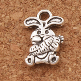Wholesale Rabbit Charms - Easter Bunny Carrot Rabbit Charm Beads 150pcs lot 9.8x14.7mm Tibetan Silver Pendants Jewelry DIY Fit Bracelets Necklace Earrings L059