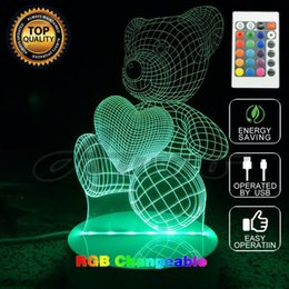 Wholesale Cartoon Bear Night Light Lamp - Cartoon Cute Heart Bear Shape Acrylic LED Lamp 3D Baby Night Light Sleeping Lighting Bedside Lamp With Remote Controller