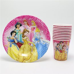Wholesale Disposable Paper Glass - Wholesale-20pcs New Style Princess Cartoon Disposable Paper Cups glass + Plates Kids Girls Birthday Favors Party Decoration Supplies Set