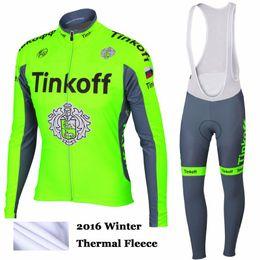 Wholesale Saxo Bank Jersey Long Sleeve - NEW 2016 Cycling clothing tinkoff saxo bank winter thermal fleece cycling jersey ropa ciclismo long sleeve