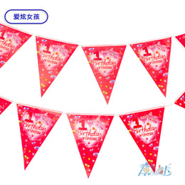 princess party theme decorations Promo Codes - Wholesale- 12pcs 1st birthday princess theme Cartoon Flags for chilren Birthday Party Items Kids favors Event Party Supplies Decoration