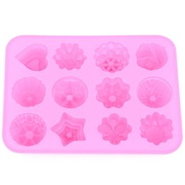 Wholesale Silicone Baking Tart - Wholesale- 1Pcs 20*16cm High Quality DIY Kitchen Muffin Cake Bakeware 12 Flowers Silicone Rubber Baking Mould Chocolate Egg Tart Mold Form
