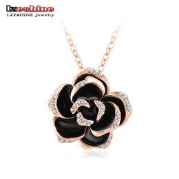 Wholesale Collar Necklace Beaded - LZESHINE Black Enamel Rose Flower Pendant Necklace Rose Gold Silver Plate Austrian Crystal Necklaces collar flores NL0003