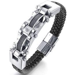 Wholesale Wire Bracelet Cuff - New Fashion Mens Braided Black Leather Stainless Steel Bracelet Heavy Biker Wire Cuff Bracelets & Bangles JBN0050