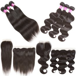 Wholesale Virgin Indian Hair Closure Pieces - Brazilian virgin hair body wave human hair extensions straight weave bundles weft with lace closure frontal ear to ear