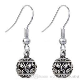 Wholesale Ear Retro - Retro Alloy Butterfly Carved Women's Dangle Hook Earrings Ear Stud Unique Tibetan Silver Carved Jewelry Earing Earring Ear Ring Accesso