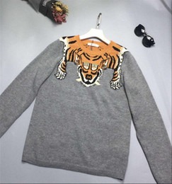 Wholesale Sweater Hair - 2017 summer women's new recreational round collage of the tiger hair double color line knit bottom sweater