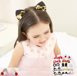 Wholesale Ears Hair Clip - multi choices rabbit bear cat ear hair clip decoration Girls Barrettes Accessories Baby Hairbows Girl Hair Bows fashion and hot sales