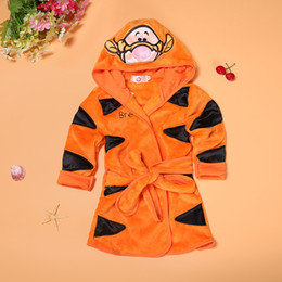 Wholesale Thick Baby Pajamas - kids cotton bathrobe hooded cotton cashmere pajamas for baby boys girls home sleepwear bathing suits one-piece thick warm night dress retail
