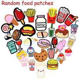 Wholesale Foods Drinks - 10 pcs Random Diy food drink for clothing iron embroidered patch applique iron on patches sewing accessories badge on clothes bag