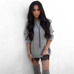Wholesale Crochet Style Tops - 2017 Hollow Out Cross Back Side Sweater Women Sexy O Neck Solid Knitted Pullover Winter Autumn Casual Tops Gray Party