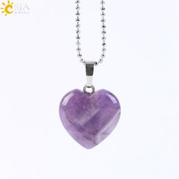 Wholesale Heart Gemstones - CSJA 2017 New Women Summer Jewelry Pendant Necklace Lovely Heart 8 Natural Gemstone Amethyst Rose Quartz Clear Crystal Black Agate E594 B