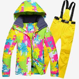 Wholesale Woman Orange Ski Jacket - Wholesale- Women Ski Suit Windproof Waterproof Outdoor Sport Wear Camping Riding Snowboard Skiing Jacket+Pants Winter Warm Clothing Female