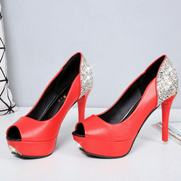 Wholesale Professional White Dresses - Professional women's shoes high heels sexy sexy diamond sewing machine fish mouth sexy women's high heels
