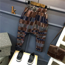 Wholesale Childrens Harem Pants - New Boys Clothes Korean Boys Pants Harem Pants Childrens Printed Casual Long Trousers Cotton cool Spring Autumn Fashion Kids Clothing A206