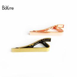 Wholesale diy tie clip - BoYuTe 10Pcs 7 Colors Plated 42*5MM Classic Plain Design Mens Tie Clip Fashion DIY Jewelry Settings
