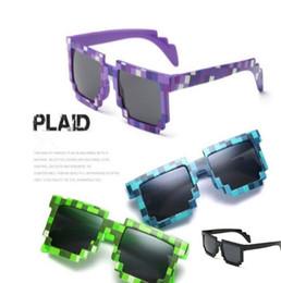 Wholesale Trendy Frames For Glasses - Novelty Vintage Mosaic Sunglasses for Kids Square Unisex Pixel Sunglasses Trendy Mosaicic Glasses Kids Party Prop CCA7181 100pcs