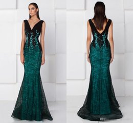 Wholesale Party Dresses Size 16 Womens - Hunter Green Black Lace Mermaid Formal Prom Dresses 2017 V-neck Full Length Middle East Arabic Fashion Womens' Occasion Evening Party Gowns