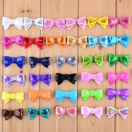 Wholesale Sequins Embroidery For Kids - New Fashion Embroidery sequins Bows for DIY Bowknot kids Hair Accessories kids Hair Clip Accessories G011