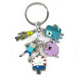 Wholesale Beemo Figure - Adventure time toy figure keychain Finn and Jake Beemo BMO Penguin pendant key ring for kids gift