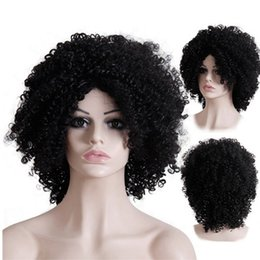 Wholesale Heating Cans - Synthetic hair wigs African American Afro Kinky Curly 16inch Heat Resistant fiber black wigs can customized