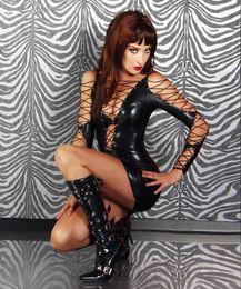 Wholesale Sexy Lace Up Pvc Dress - Sexy Lingerie WetLook PVC Lace up Bondage Fetish EXOTIC MINI FANCY DRESS 748