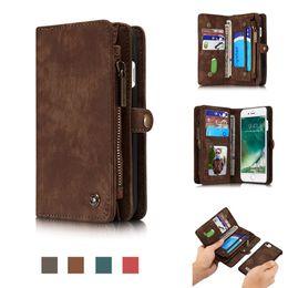Wholesale Handmade Leather Wallets - CaseMe for iPhone 8 7 Plus Wallet Case,Handmade Cowhide Leather Large Capacity Detachable Zipper Wallet Case For iPhone 8 7 Plus
