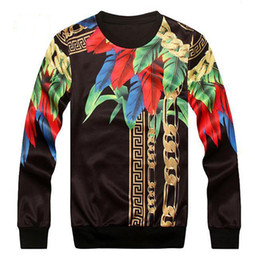 Wholesale Top Hoodie Designs - Wholesale-3D Mall Autumn 2016 Paris Top Design Colorful Feathers Leaves Golden Chains Medusa Cool Men's Slim Pattern Sweatshirt Hoodies