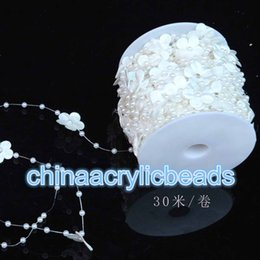 Wholesale Beads 4mm String - Cream White Pearl String Beads Flower Pearl String 4mm Wide 30M 98 Feet Long For Wedding Party Decoration Crafting