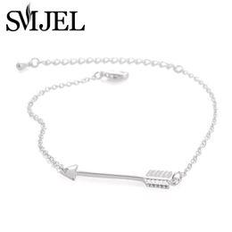 Wholesale Bow Arrow Bracelets - SMJEL 2017 Wholesale Fashion Silver Color Long Arrow Bow Charm Bracelets Bangles for Women 10PCS-B014