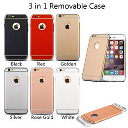 Wholesale Iphone Slim Armor Retail - Ultra Slim 3 In 1 Shockproof Back Cover Rose Gold Color Luxury Frosted Armor Case For Iphone 7 6 plus with Retail Package Free Shipping