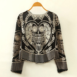 Wholesale Black Lace Shirt Chiffon Blouse - 2017 New Women's Chiffon Blouses Shirts Lace owl Embroidery pattern shirt loose O neck Animal Embroidery Fashion Long sleeves drop shipping