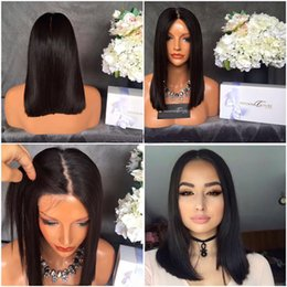 Wholesale Short Bobbed Hairstyles - 4*4 Silk Base Straight Short Bob Full Lace Wigs Glueless Bob Lace Wig Middle Part Silk Top Bob Wig Virgin Brazilian Hair