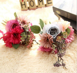 Wholesale Artificial Pink Gerbera - Artificial pink fushia rose and gerbera bridal bouquets silk flowers for wedding party centerpieces home holiday decoration 15975