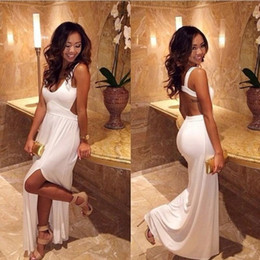 Wholesale Prom Trends - Trend 2017 White Prom Dresses U Neck A Line Split Party Dress Graduation Gowns 8th Grade vestido longo maxi dress Backless Straps