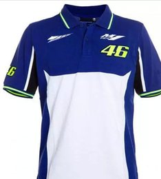 Wholesale 46 rossi - 2017 Motorcycle Valentino Rossi VR46 Polo T-Shirts 46 The Doctor Moto GP Monza Cotton T Shirt yellow-black