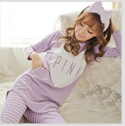 Wholesale Traditional Lady Suits - Free Shipping autumn Sleepwear Pajamas Set Long Sleeve Womens Ladies Nightgown Sleepwear Ladies Sleeping Suits Home Wear Leisure Clothes