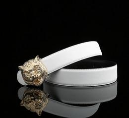 Leones de bronce online-Diseño único de primera calidad Lion Face Pure Brass Sliver Electroplate Cinturones de metal Hebilla Fit Ancho Cinturones para hombres Cinturones HEBILLA